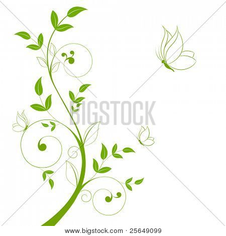 Fondo floral abstracto hermoso con mariposas.