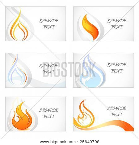 Set of business cards with flames and fire. Vector collage.