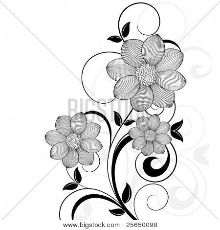 Beautiful floral background with flowers dahlia. Element for design.