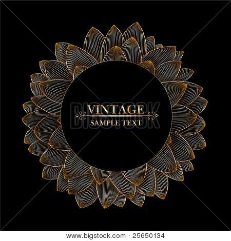 Vintage floral frame in shape of flower dahlia.  Element for design.