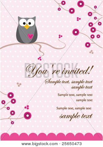 Owl Baby Girl Invitation Card