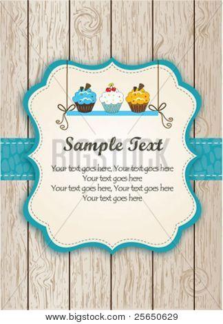 Blauwe Cupcake kaart