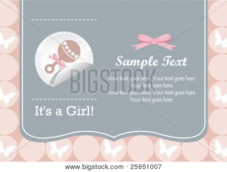 baby girl rattle invitation