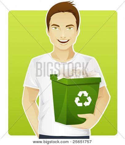 Eco-friendly man sorting a trash