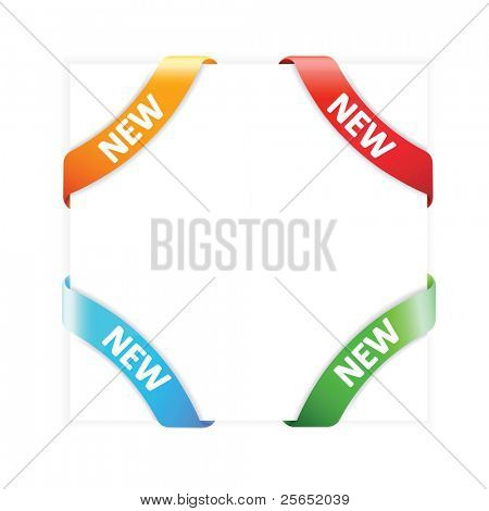 "Vector set advertising angular  ribbons ""New"""