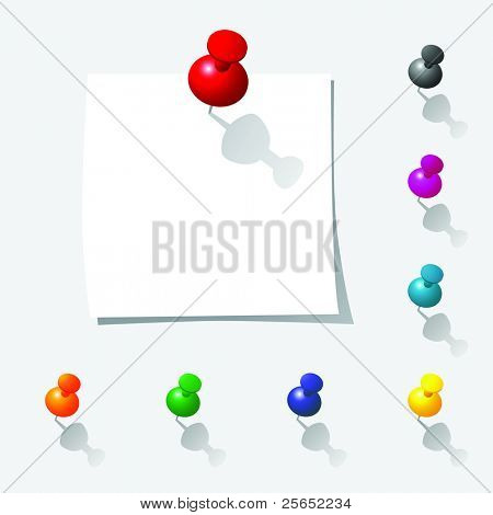 vector illustration of push pin notes collection with white paper page