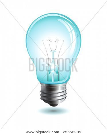 Realistic raster  illustration of a light bulb isolated on white
