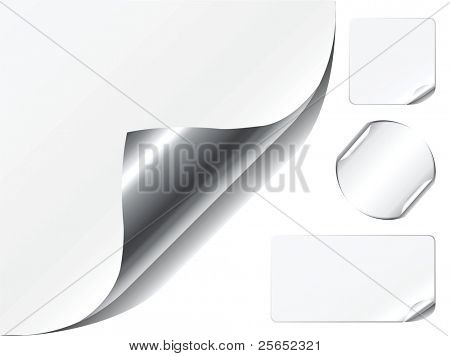 vector illustration set-white page corner, stickers with peeling corners