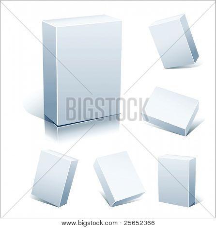 Cajas blancas en blanco del vector Set aislados en blanco