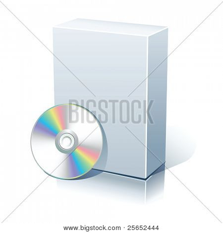 White blank box with CD,DVD disk