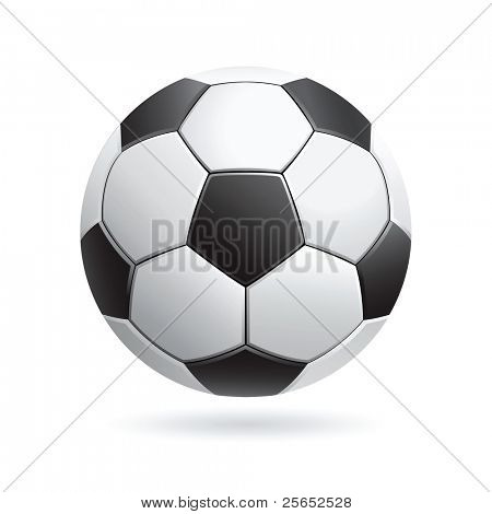 Vector soccer ball isolated on white.