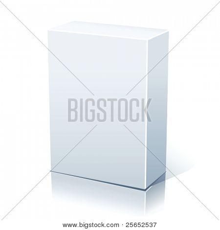 Raster blank white box isolated on white