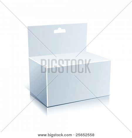 White Blank  Box Isolated on a White Background.