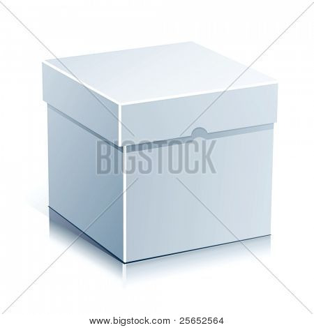 White Box Vector Illustration Isolated on White Background.