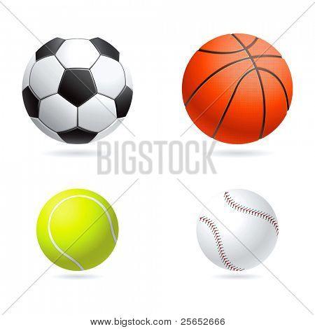 Vector set  illustration of sport balls
