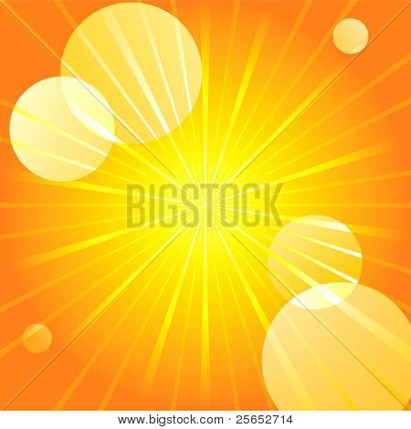 Abstract yellow sunburst light background.