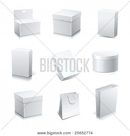 Raster set blank white boxes isolated on white.