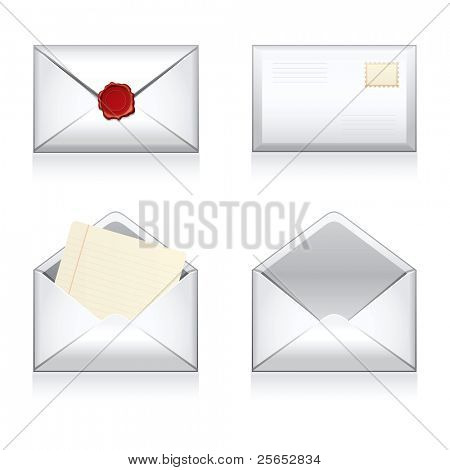 Set Vektor-e-Mail, umhüllen Symbole mit Wachs Press.