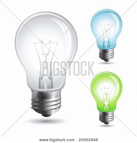 Set realistic  illustration of a light bulb isolated on whit