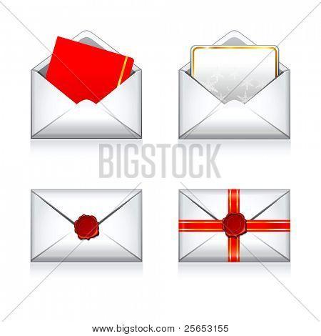 Legen Sie Weihnachten Vektor Umschlag e Mail-Symbole mit Wachs Press.