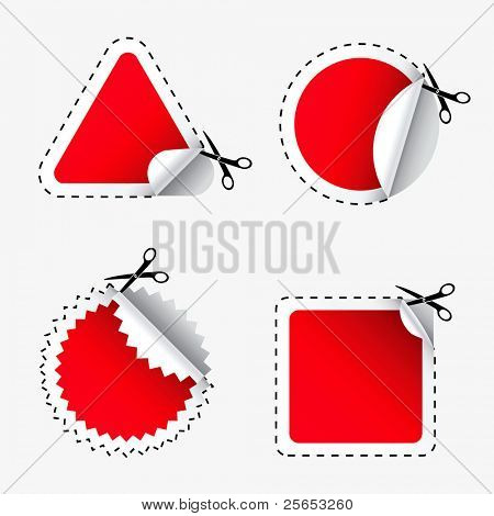 Vector illustration  of scissors cutting  red stickers.