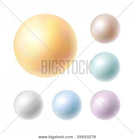 Raster Illustration of collection pearls isolated in white background.