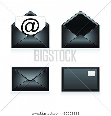Set vector e mail black icon