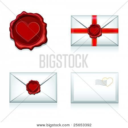 Set vector e-mail, envelop icons with heart wax press.For Valentine Day.
