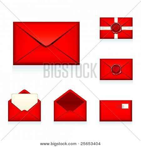 Set vector red e-mail, envelop icons with heart wax press.For Valentine Day.