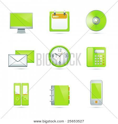 Set office end business green icons. Vector .