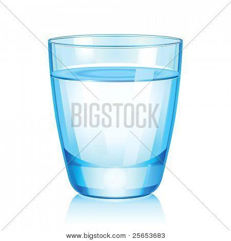 Ilustración de vector de cristal corto con agua.