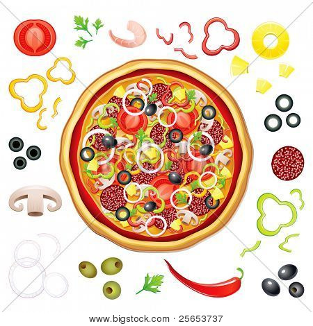Vector pizza with many isolated components