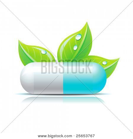 Vector blue pill with green leafs and droops.