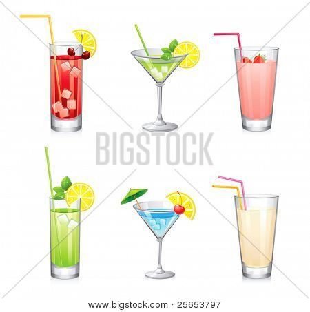 Set of vector summer cocktails.