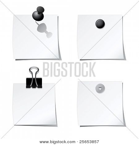 Set of white stickers with paper clip and office pins
