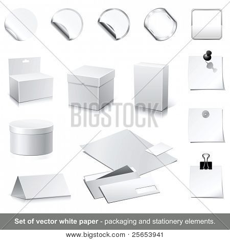 Set of raster white paper - packaging and stationery elements.