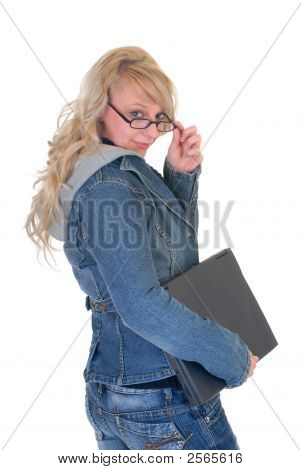 High School Student And Laptop
