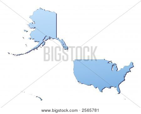 United States Map Filled With Light Blue Gradient