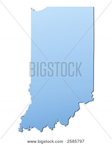 Indiana(Usa) Map Filled With Light Blue Gradient