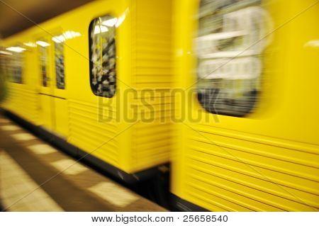 Train in motion, underground metro
