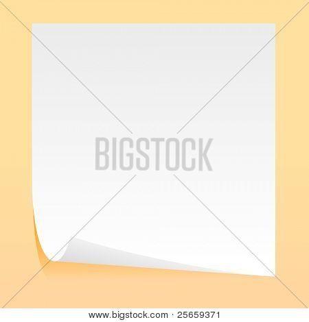 Hoja blanca de papel de selfgluing. Vector.