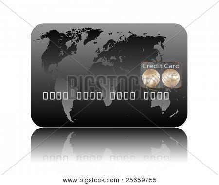 Ilustração de cartão de crédito em um fundo branco.