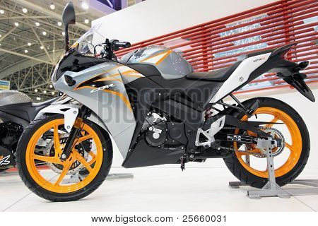 KIEV, UKRAINE - APRIL 7: A new HONDA CBR sport motorbike is on display at the VII International Specialized Exhibition,