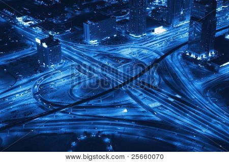 Night Panorama of Dubai. Transport road junction.