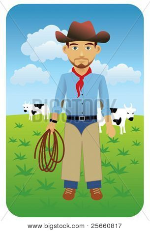 Wild west cowboy holding a lasso. 