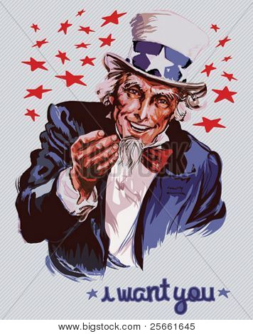 Lächelnd Uncle Sam (abnehmbare Text)
