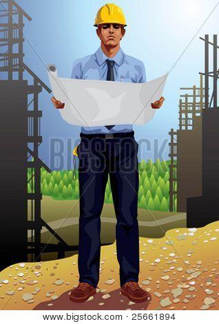 Conjunto de profissão: arquiteto vestindo o capacete em um canteiro de obras (navega nosso portfólio para mais