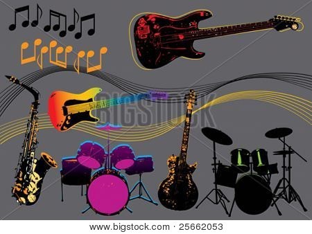 Music set 6 (visit our portfolio for more design elements and music vectors)