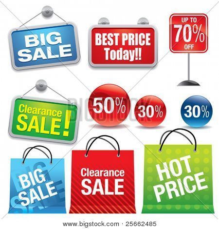 Sale shopping bags and signs