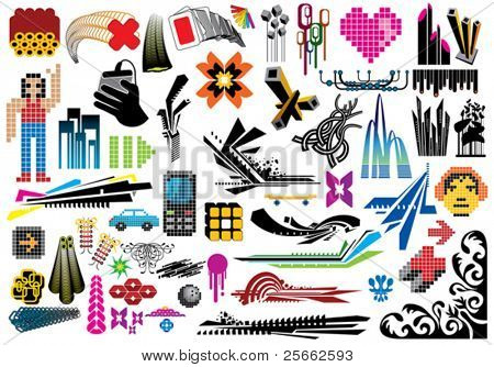 Collection of 50 design elements. Use these items to create artworks, flyers, covers and advertisements.